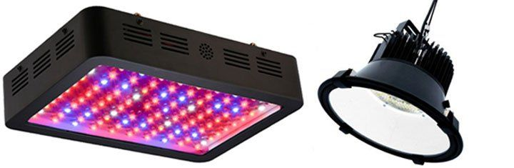 led grow light with coloured diodes on the left and a full spectrum grow light on the right.