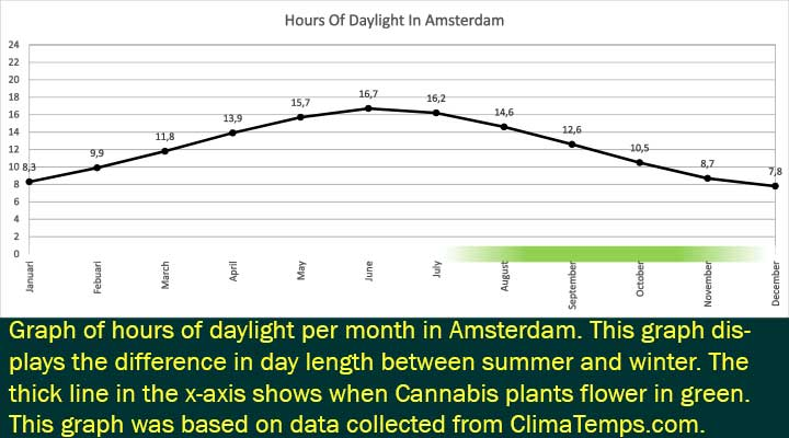 Hours of daylight in Amsterdam